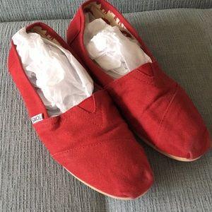 Red Tom's Slip On Flats
